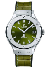 6 o'clock with green dial